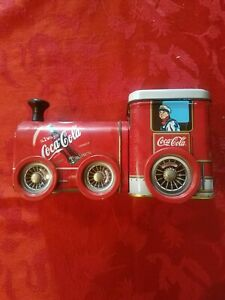 COLLECTIBLE COCA COLA TRAIN ENGINE TIN with Removable Lid & Wheels that Go Round