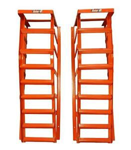 Tool Hub 10287 Heavy Duty Car Ramps 3 Ton Metal Stands Pair 8 Rungs
