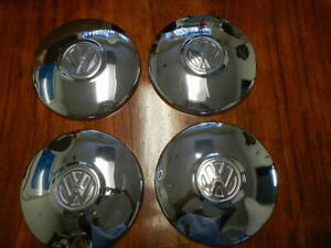 Set Of 4 Vintage 10 Chrome Volkswagen Vw Dish Hub Caps Genuine