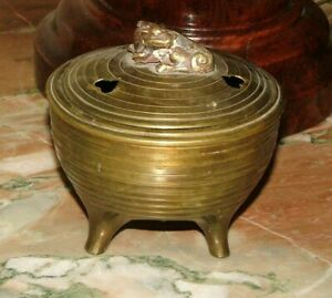 Antique Incense Burner Solid Brass From China Crouching Dragon Finial