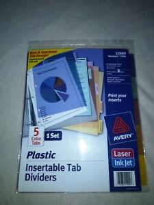 Avery 11900 Worksaver 5 tabs Color Plastic Insertable Dividers Inkjet Printable