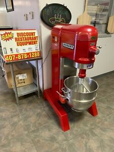 Red Hobart 60 Quart Mixer With Paddle Attachment And Ss Bowl 200v 1 Phase 1 5hp