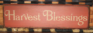 Primitive Country Harvest Blessings 9 Shelf Sign Fall Autumn