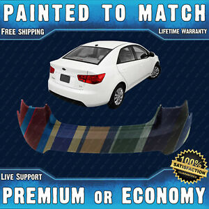 New Painted To Match Rear Bumper Cover Replacement For 2010 2013 Kia Forte Sedan