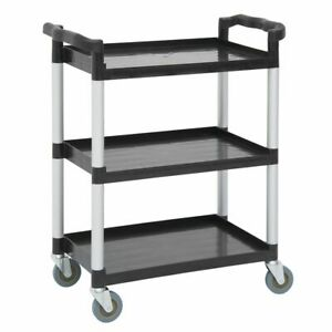 Hubert Black Plastic 3 shelf Small Utility Cart 31 9 10 l X 17 1 8 w X 35
