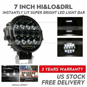 7inch Led Work Lights 90w Round Led Driving Bar Fog 4wd Suv Offroad Atv Boat