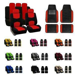 Car Seat Covers Flat Cloth Full Set Universal Fit W Carpet Floor Mats Combo