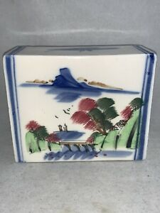 Antique Chinese Porcelain Hand Painted Opium Pillow Headrest Trees Water