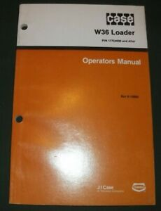 Case W36 Articulated Loader Operator Operation Maintenance Book Manual Oem