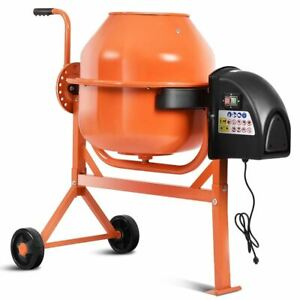Durable Portable Orange Electric Concrete Cement Mixer W wheels
