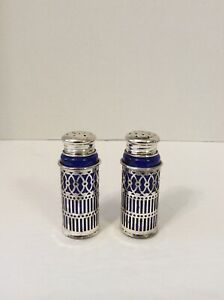 Vintage F B Rogers Silverplate Cobalt Glass Salt And Pepper Shakers Set Japan