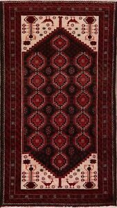 Vintage Tribal Geometric Balouch Hand Knotted Area Rug 4x8 Nomad Oriental Carpet