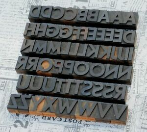 A z Alphabet 1 42 Letterpress Wooden Printing Blocks Wood Type Vintage Printer