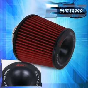 3 Cold Short Ram Air Intake High Flow Cone Red Black Filter Induction Universal