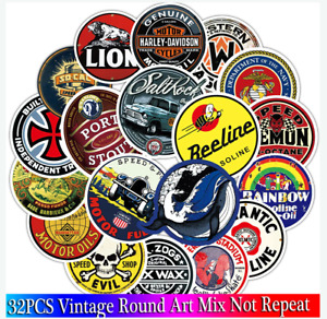 32pcs Car Stickers Lot Decals Vintage Forfiat Alfa Romeo Opel Peugeot Citroen