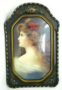 Vintage Wood Frame Convex Bubble Glass Oval Octagon Art Deco Nouveau Lady 22x14