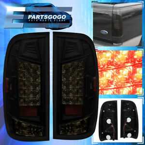 For 1997 2003 Ford F 150 Tail Lights Red Reflector Led Smoke Lens Rear Lamp Pair