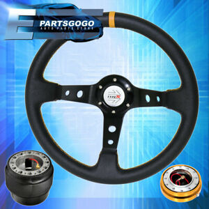 Typer Black Yellow Steering Wheel Gold Quick Release Hub For 89 98 240sx