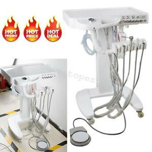 4 Holes Dental Unit Delivery Mobile Cart Equipment 3 way Syringe Handpiece Tube