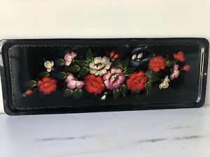 Vintage Black Red Roses Hand Painted Floral Metal Tole Toleware Tray 17 Long