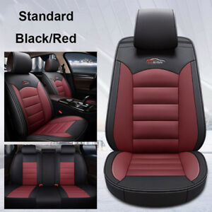 Us Auto Car Leather Seat Covers Cushion For Toyota Camry Corolla Rav4 Black red