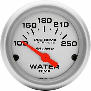 Auto Meter 4337 Ultra lite Electric Water Temperature Gauge Silver