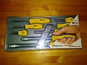 New Snap On 8 Piece Screwdriver Set Yellow Sddx80y Hard Handle Nos Tools