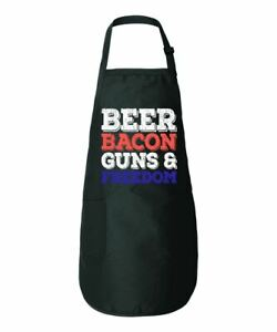 Beer Bacon Guns Freedom Funny 4th Of July Kitchen Cooking Apron Graphic Apron Wi
