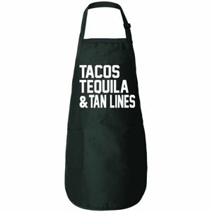 Tacos Tequila And Tan Lines Funny Food Kitchen Cooking Apron Graphic Apron With