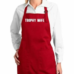 Trophy Wife Funny Chef Kitchen Cooking Apron With Pockets