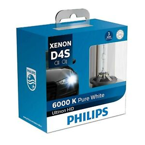 Philips Hid Xenon Ultinon D4s White 6000k Two Bulbs Head Light Replacement