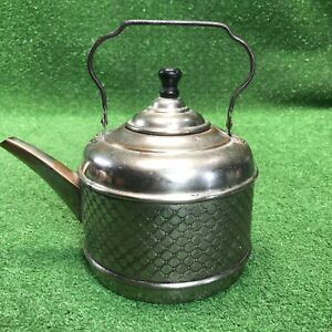 Antique Stamped Copper Bottom Tea Kettle With Star Pattern Stamping Very Neat