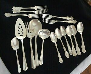 Mixed Lot Antique Silver Plate Flatware Serving Spoons Forks Other