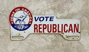 Vote Republican Political Vintage Automotive License Plate Tag Topper Original