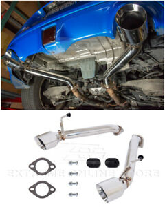 For 09 up Nissan 370z Z34 Muffler Delete Axle Back 4 5 Inch Dual Tips Exhaust