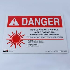 Rockwell Xecl Xenon Chloride Excimer 308 Nm Laser Safety Warning Sign 10x14 Inch