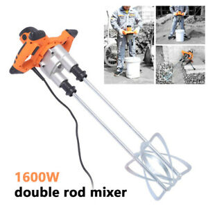 1600w Power Concrete Mixers Hand Electric Mortar Mixer Dual Paddle High Low Gear