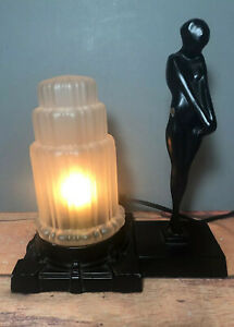 Vintage Art Deco Nude Woman Figure Table Lamp With Skyscraper Shade 14