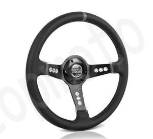 Sparco 4 deep Dish Black Leather White Stitches Racing Sport Steering Wheel