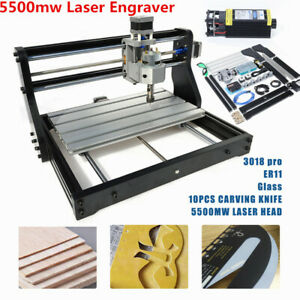 3 Axis Cnc3018pro Router Wood Carving Engraving Pcb Milling 5500mw Laser Machine