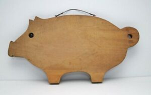 Vintage Primitive Wooden Pig W Marble Eye Cutting Or Bread Board