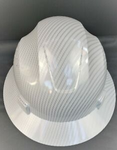 Full Brim White Hard Hat Custom Hydro Dipped New White Carbon Fiber Design