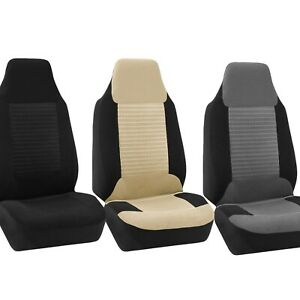 High Back Bucket Seat Premium Fabric Car Seat Covers Front Set Universal Fit
