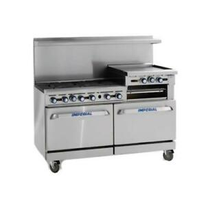 Imperial Ir 2 g48 60 In 2 burner Gas Range W Griddle And Standard Ovens