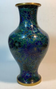Vintage Chinese Cloisonne Enamel Blue Green With Floral Design Vase 10 1 4