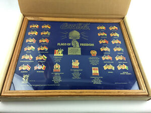 Coca-Cola Flags of Freedom Framed Collectors Pin Set In Box - USED, Free Ship -