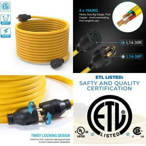 40 Feet L14 30 Generator Power Cord Electric Extension Wire 4 Prong 10 Gauge