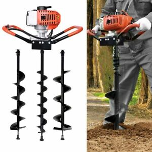 Gas Powered Post Hole Digger W 4 6 8 Auger Bits 52cc Gasoline Engine Motor