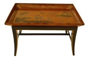 F31624ec Chinoiserie Decorated Deep Dish Top Coffee Cocktail Table