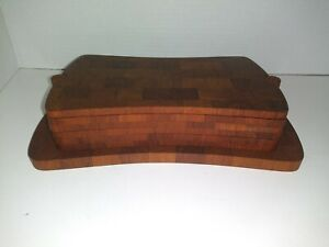 Mid Century Danish Modern Esa Staved Endgrain Teak Coaster Serving Set Jhq